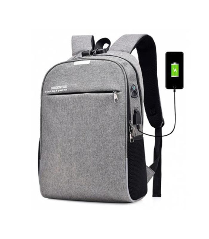 a75f993a31 Τσάντα Backpack για Laptop και Αντικλεπτική Κλειδαριά - Γκρι - MrBig.gr
