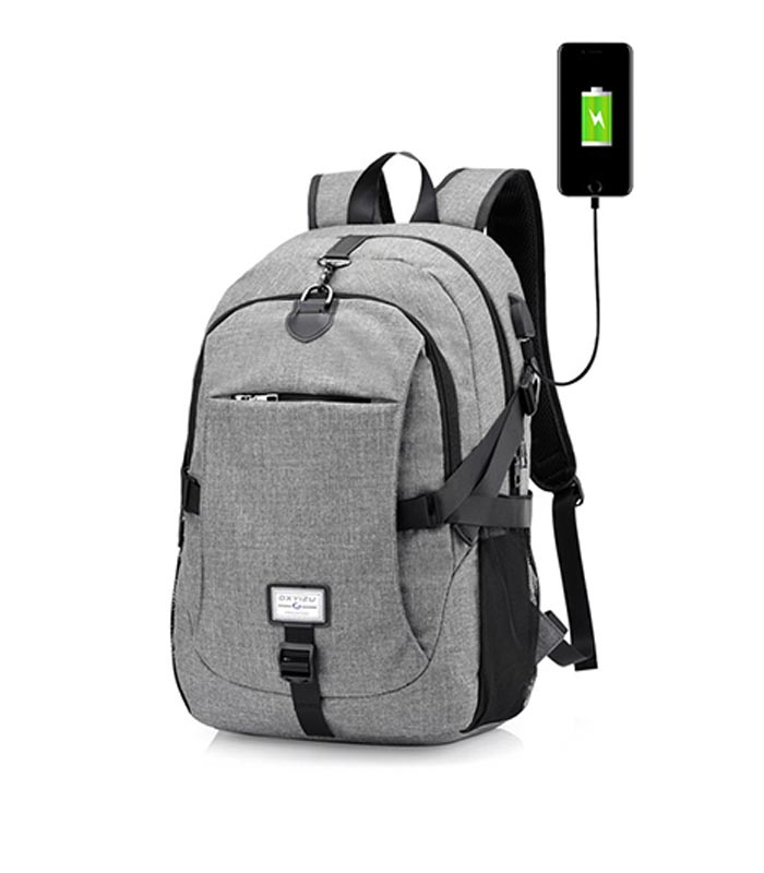eeeeccf959 Τσάντα Backpack για Laptop με Θύρα USB - Γκρι - MrBig.gr