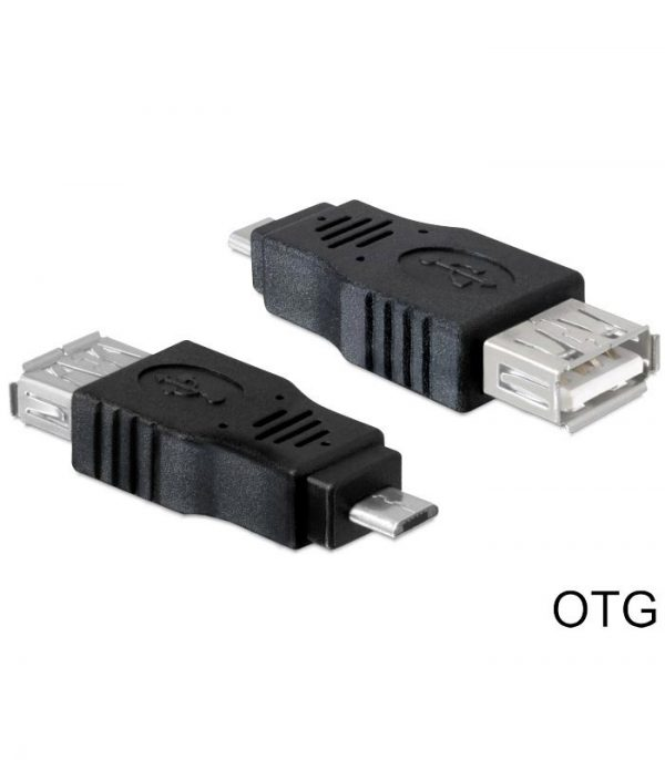 Delock Adapter USB 2.0 Micro σε USB OTG - Μαύρο