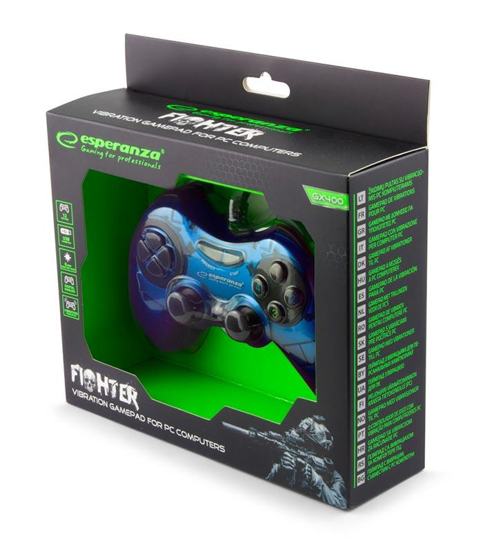 Esperanza EGG105B Fighter Ενσύρματο Gamepad Vibration PC - Μπλε