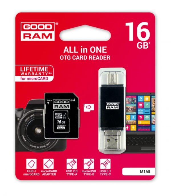 GoodRAM M1A5 microSD 16GB U1 με αντάπτορα SD και Card Reader