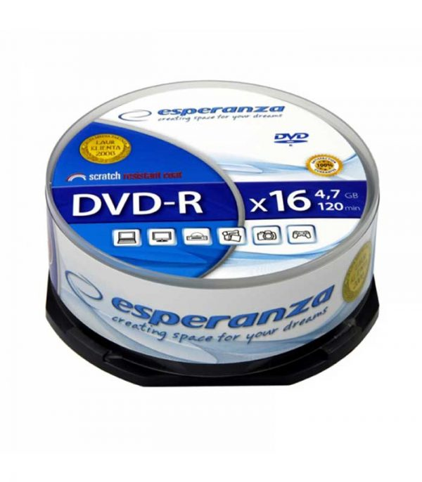 Esperanza DVD-R 4,7GB X16 - CAKE BOX 25 PCS