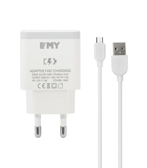 EMY MY-A301Q Wall Charger Quick Charger και Καλώδιο Micro USB - Λευκό