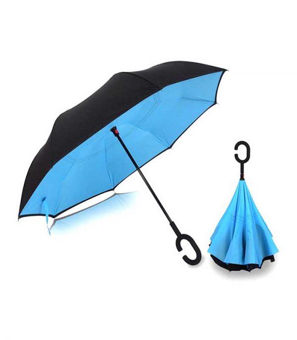 Ομπρέλα Kazbrella Αντίστροφης Δίπλωσης - Μπλε