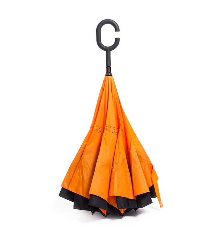 Ομπρέλα Kazbrella Αντίστροφης Δίπλωσης - Πορτοκαλί