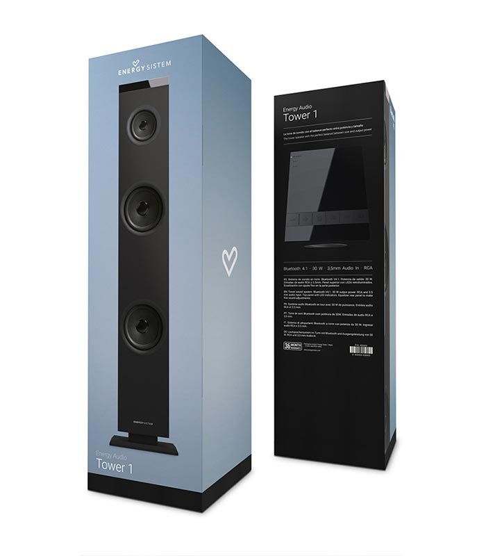 Energy Sistem Tower 1 Ηχείο Bluetooth, 2.1ch, RCA/Line in, 30W - Μαύρο