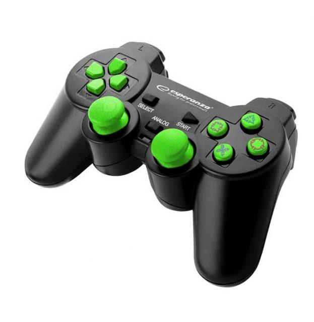 Esperanza EGG106G Corsair Ενσύρματο Gamepad Vibration PS2/PS3/PC - Μαύρο/Πράσινο