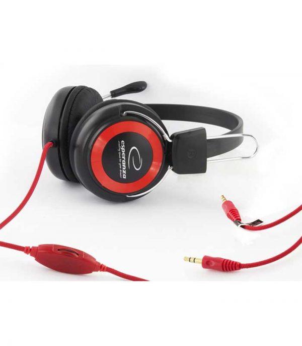 Esperanza EH152R Falcon Ακουστικά με Μικρόφωνο - Κόκκινο