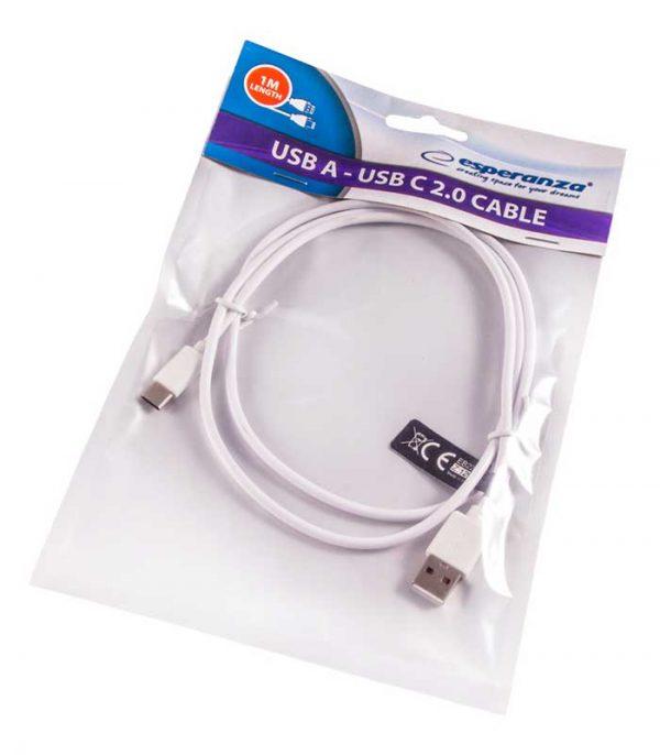 Esperanza Usb A - Usb Type C (1m) - Λευκό