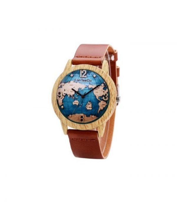 FanTeeDa FD068 Ξύλινο Ρολόι Χειρός Αναλογικό - Σκούρο Καφέ