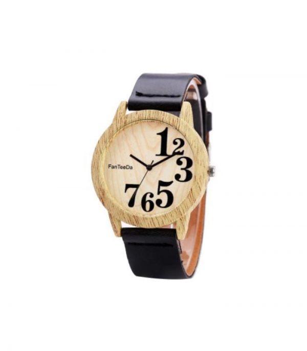 FanTeeDa FD071 Ξύλινο Ρολόι Χειρός Αναλογικό - Μαύρο