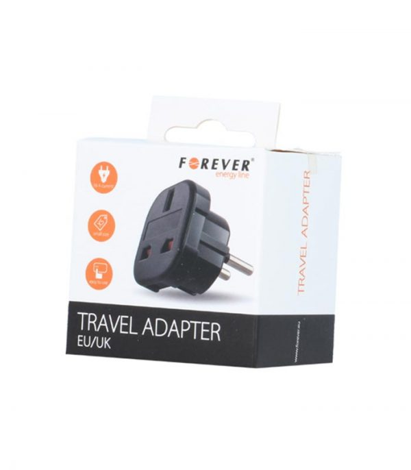 Forever Travel Adapter EU/UK - Μαύρο