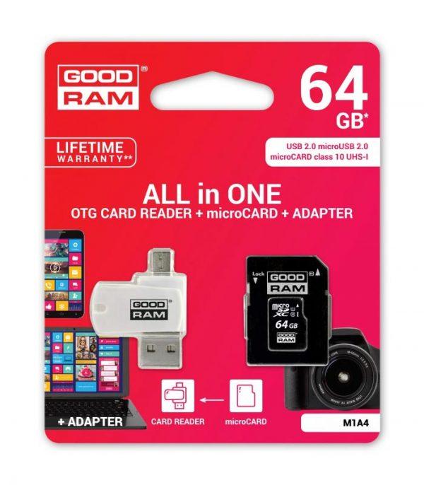 GOODRAM M1A4 microSDHC 64GB Class 10 με αντάπτορα SD και Card Reader