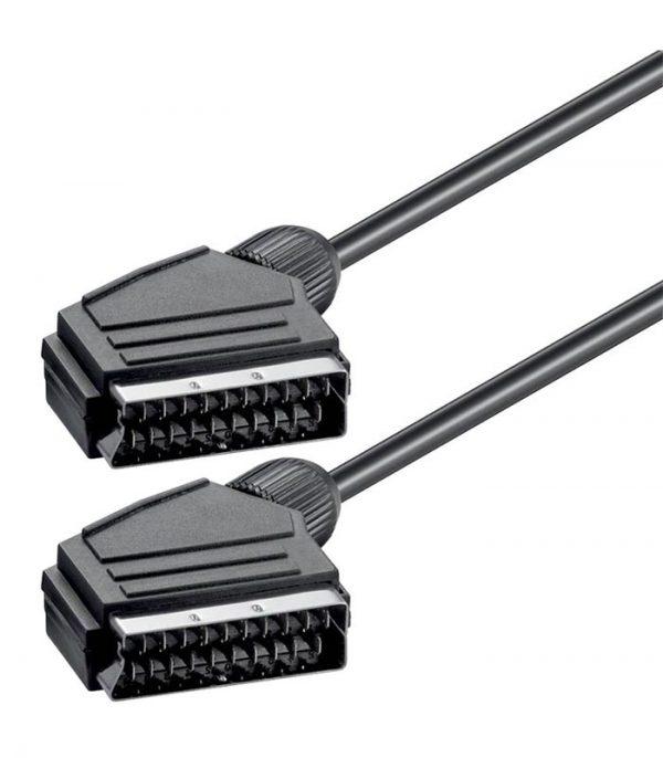 Power Tech Καλώδιο Scart 21pin σε Scart 21pin (1.4m) - Μαύρο