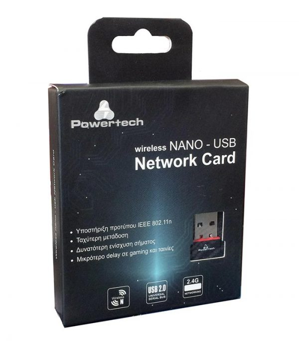 Powertech Wireless nano USB Network Adapter, 150Mbps, 2.4GHz