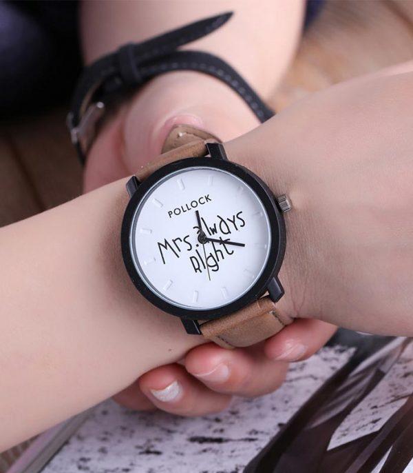 Ρολόι Χειρός Αναλογικό Quartz Mrs Always Right - Σκούρο Καφέ