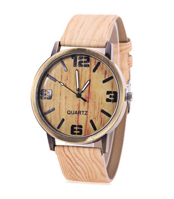 Ρολόι Χειρός Αναλογικό Quartz Wooden Texture - Μπεζ