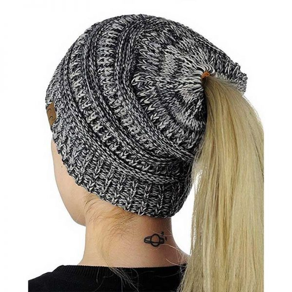 Σκούφος για Κοτσίδα Ponytail Hats - Μαύρο/Άσπρο