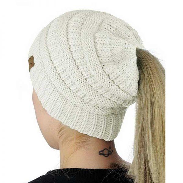 Σκούφος για Κοτσίδα Ponytail Hats - Λευκό