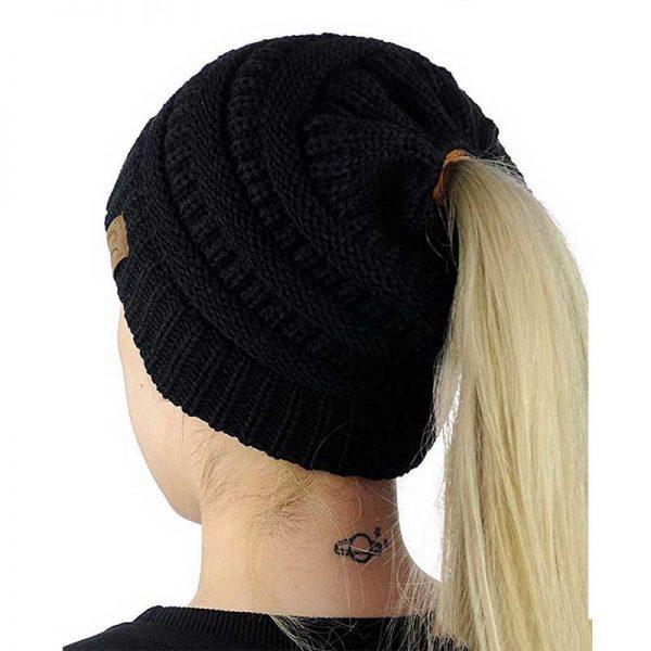 Σκούφος για Κοτσίδα Ponytail Hats - Μαύρο