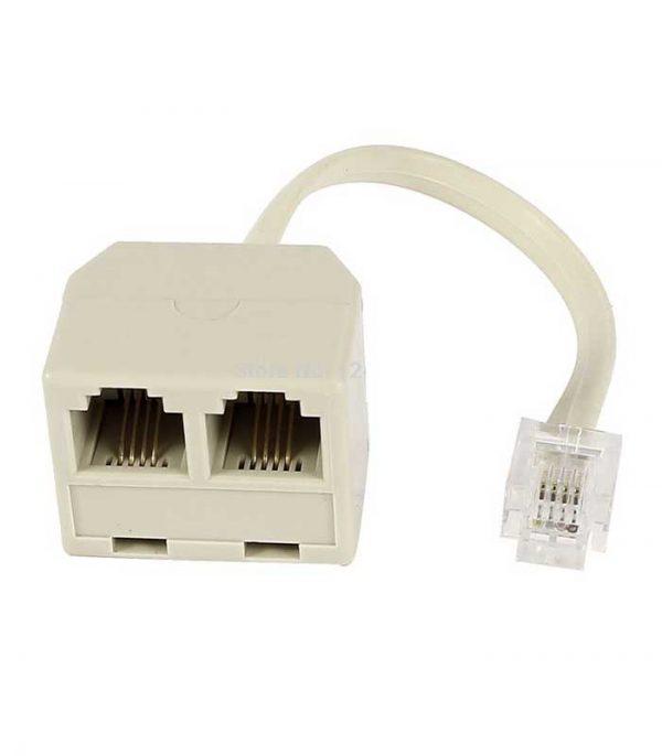 Powertech adapter 6p4c 1x Αρσενικό 0.20cm σε 2x Θηλυκό, RJ11 - Λευκό