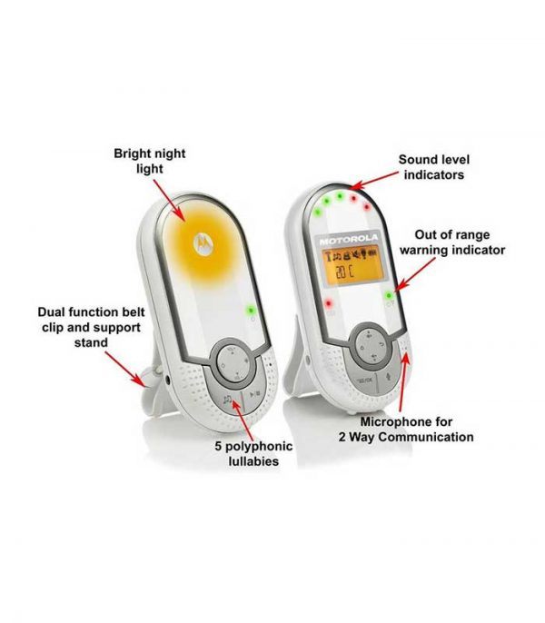 Motorola MBP16 Baby Audio Monitor Συσκευή Παρακολούθησης Μωρού με Ένδειξη Θερμοκρασίας Δωματίου