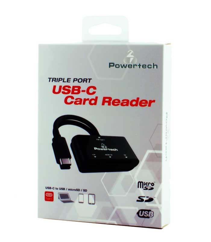 Powertech Card Reader USB Type-C, SD, Micro SD, USB - Μαύρο