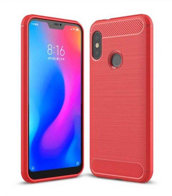 Carbon Θήκη Flexible TPU για Xiaomi Mi A2 Lite / Redmi 6 Pro - Κόκκινο