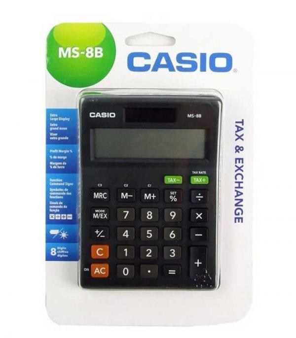 Casio MS-8B Αριθμομηχανή Μεγάλη Οθόνη 8 Ψηφίων Μπαταρίας/Ηλιακή