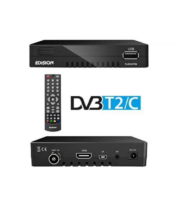 Edision Progressiv Hybrid Lite Επίγειος Ψηφιακός Δέκτης MPEG4 Full HD DVB-T2 & DVB-C