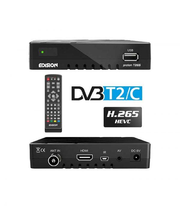 Edision Proton T265 Επίγειος Ψηφιακός Δέκτης DVB-T2/C Full HD H.265 HEVC