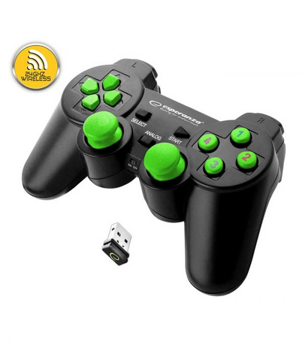 Esperanza EGG108G Gladiator Wireless 2.4GHZ Gamepad PS3/PC - Μαύρο/Πράσινο