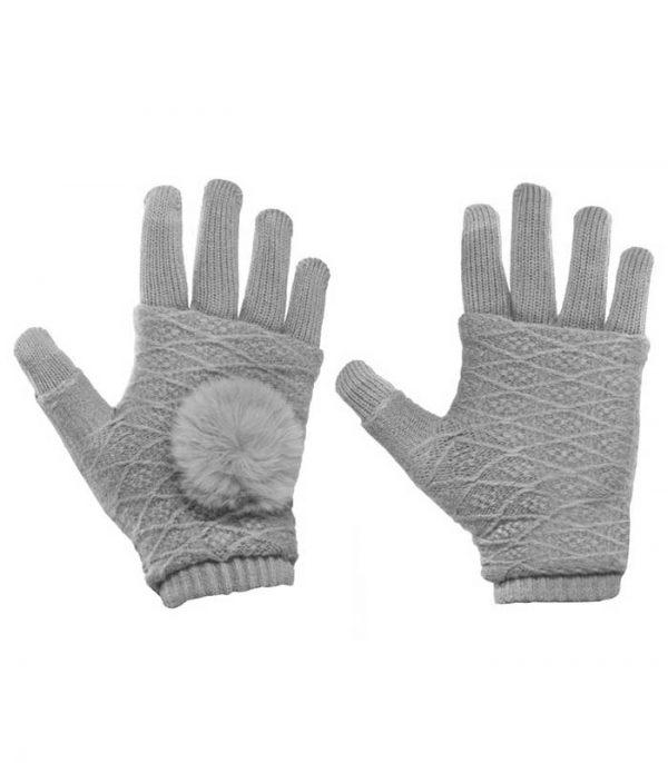 Γάντια Αφής για Touchscreen 2in1 Striped and Fingerless - Γκρι