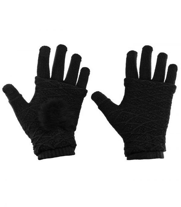 Γάντια Αφής για Touchscreen 2in1 Striped and Fingerless - Μαύρο