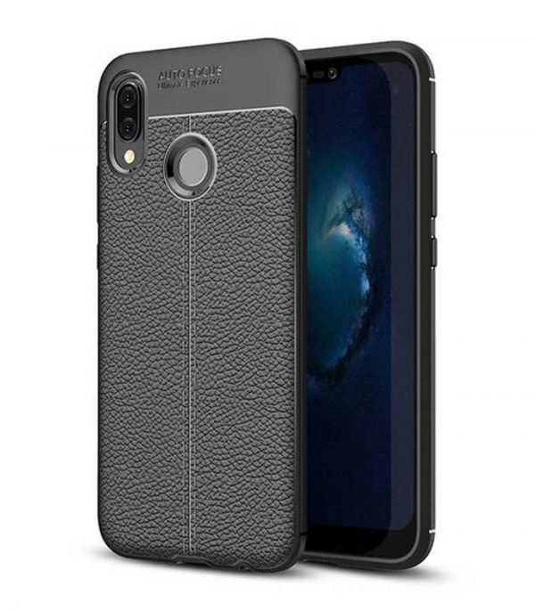 Litchi Pattern Flexible Θήκη TPU Leather Case για Huawei P20 Lite