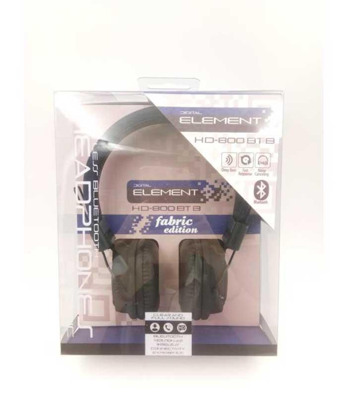 Element HD-800BT-K Fabric Bluetooth Headphones με Μικρόφωνο - Μαύρο