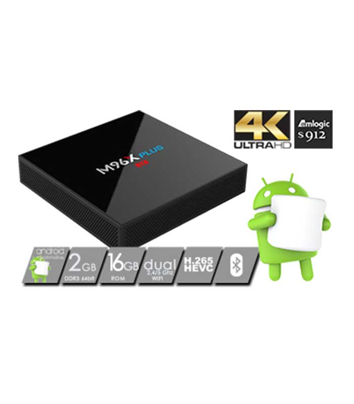 M96X Plus TV Box 4K Amlogic (S912/2GB/16GB/Android) WiFi Bluetooth LAN