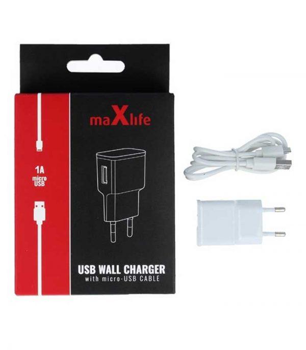 MaxLife Φορτιστής Πρίζας 1Α + Micro USB (1m)