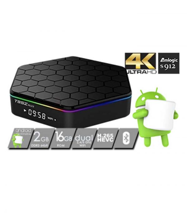 T95z Plus TV Box 4K Amlogic (S912/2GB/16GB/Android) WiFi Bluetooth LAN
