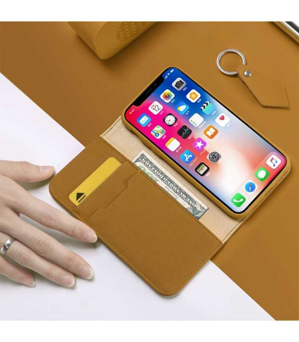 DUX DUCIS Wish Genuine Leather Bookcase type case Θήκη για Apple iPhone XS / X - Καφέ