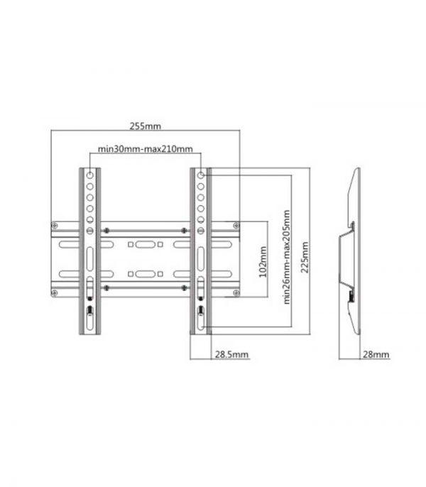 "Brateck KL25-22F Επιτοίχια Βάση για Monitor 23"" - 42"""