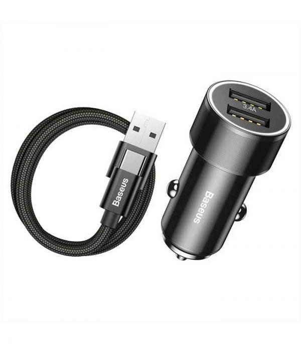 Baseus Small Screw 3.4A Quick Charge Διπλός Φορτιστής Αυτοκινήτου με Καλώδιο Type-C (TZXLD-B01)