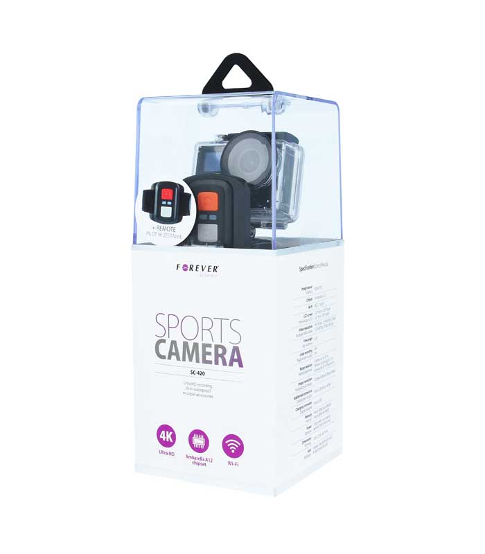 Forever SC-420 Action Camera (4K, 30 fps) + Wi-Fi + Remote Control