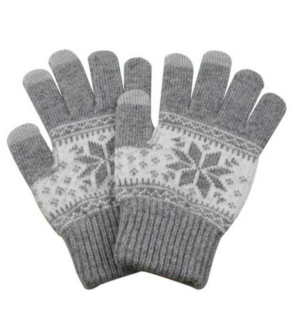Γάντια Touchscreen with Charming Winter Pattern - Γκρι