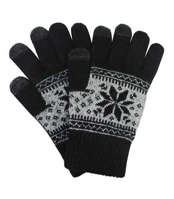 Γάντια Touchscreen with Charming Winter Pattern - Μαύρο