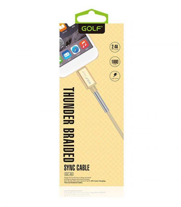 GOLF Καλώδιο USB 2.0 σε USB Micro, Fast Charging Sync, Braided (1m) - Χρυσό