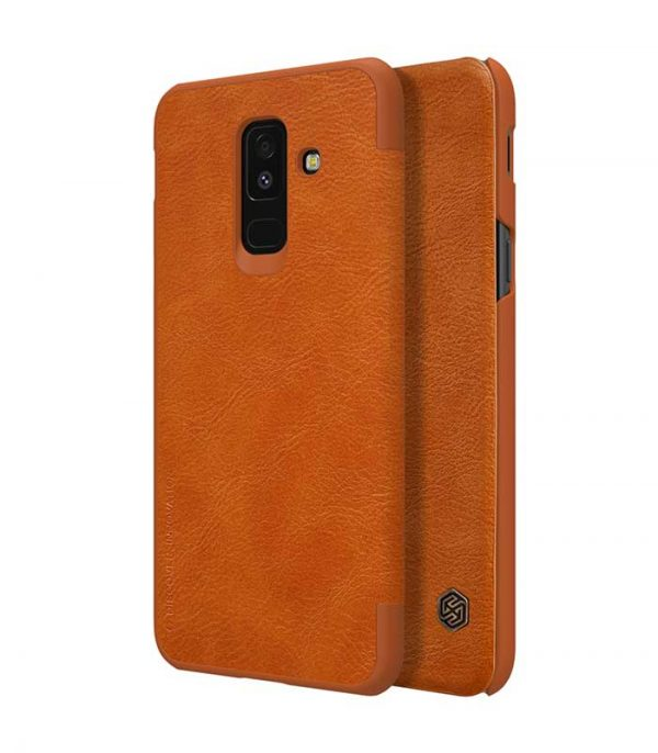 Nillkin Qin Leather Book Case για το Samsung Galaxy A6 Plus 2018 - Καφέ