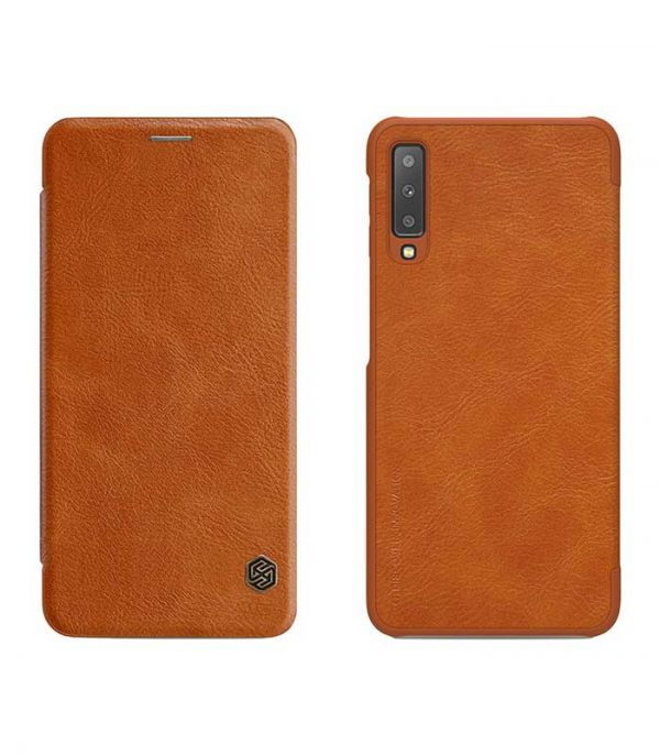 Nillkin Qin Leather Book Case για το Samsung Galaxy A7 2018 - Καφέ