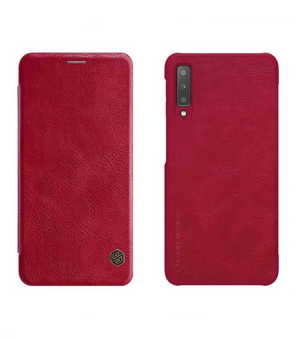 Nillkin Qin Leather Book Case για το Samsung Galaxy A7 2018 - Κόκκινο