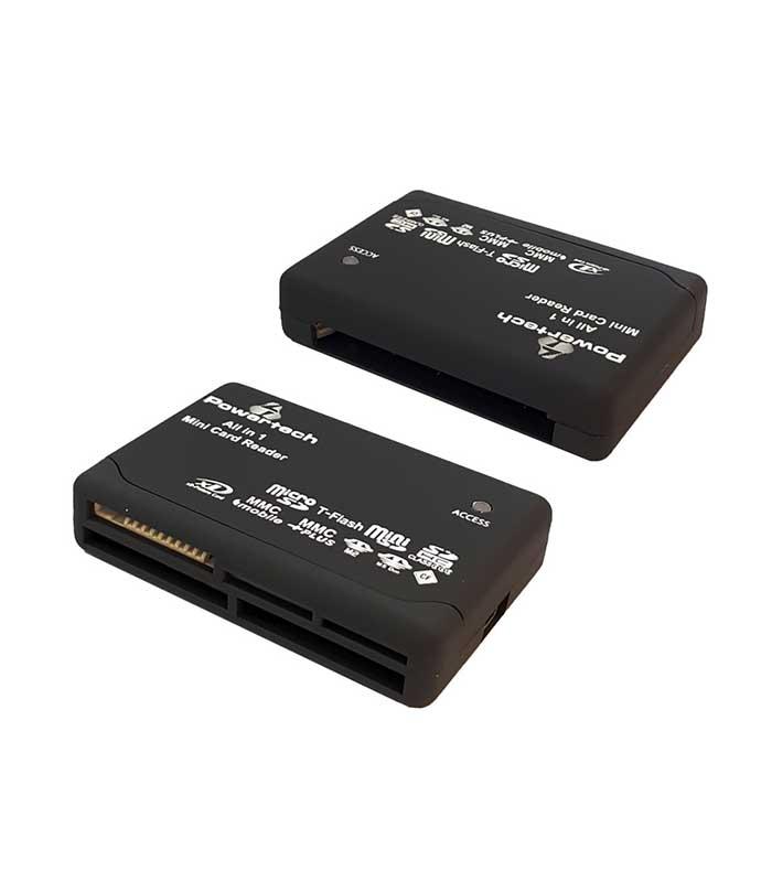 Powertech PT-912 Card Reader All in one, USB, 480Μbps, LED - Μαύρο